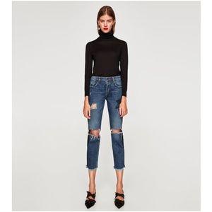 NWT Zara Size 2 Cropped Skinny Patch Jeans